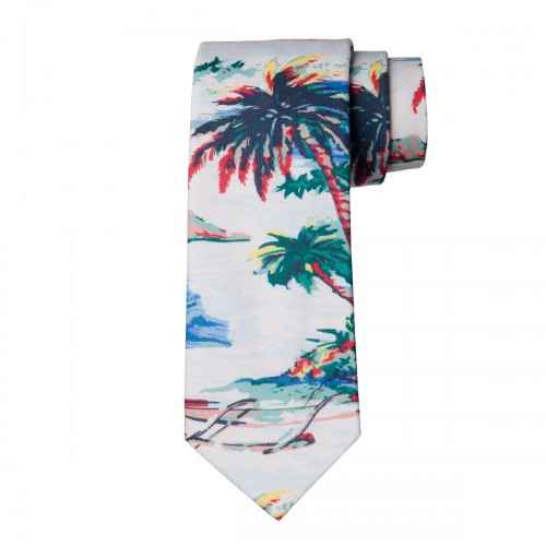 Corbata Estampada Algodón Hawaii