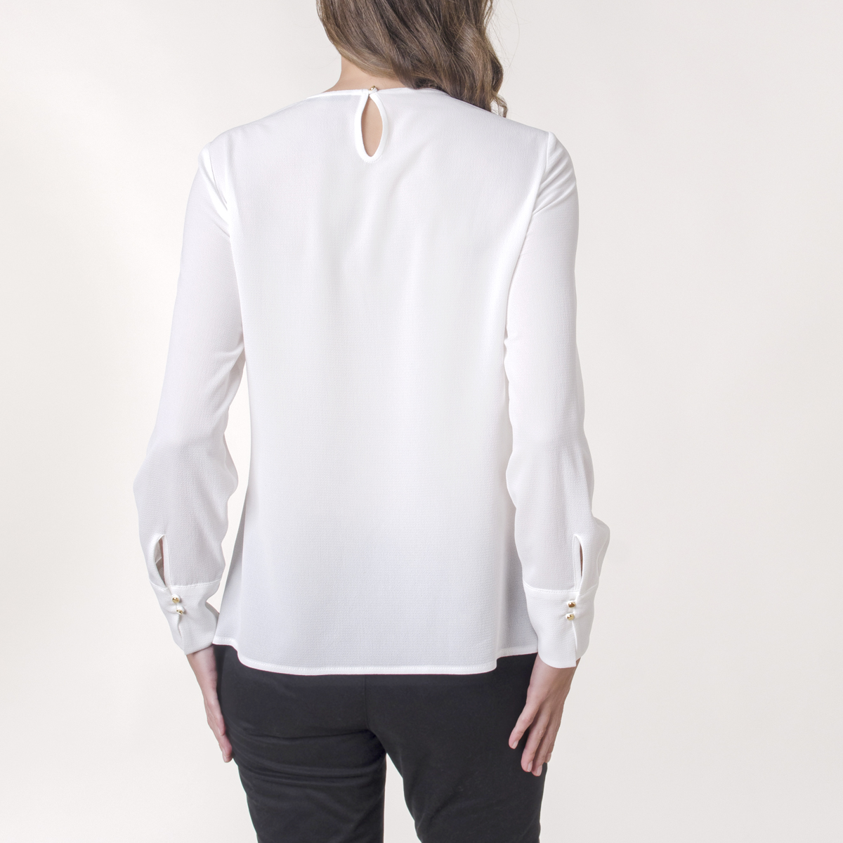 Blusa Cocktail Manga Larga Cuello Redondo