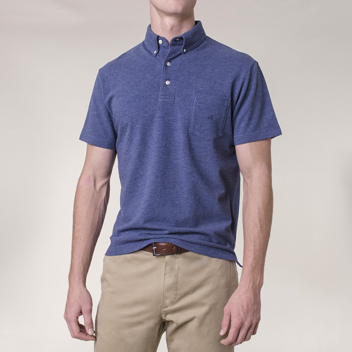 Polera Pique Manga Corta Button Down