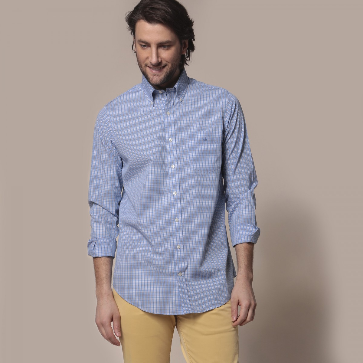 Camisa Vestir Button Down Calce Slim Non Iron Comfort Stretch A Cuadros