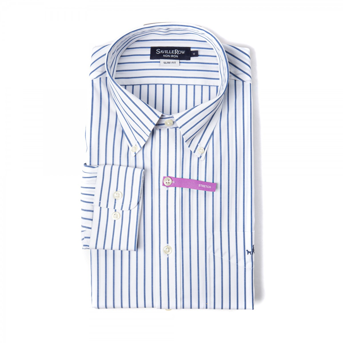 Camisa Vestir Button Down Calce Slim Non Iron Comfort Stretch A Rayas