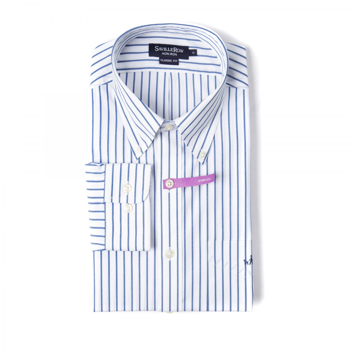 Camisa Vestir Button Down Non Iron Calce Classic Comfort Stretch A Rayas