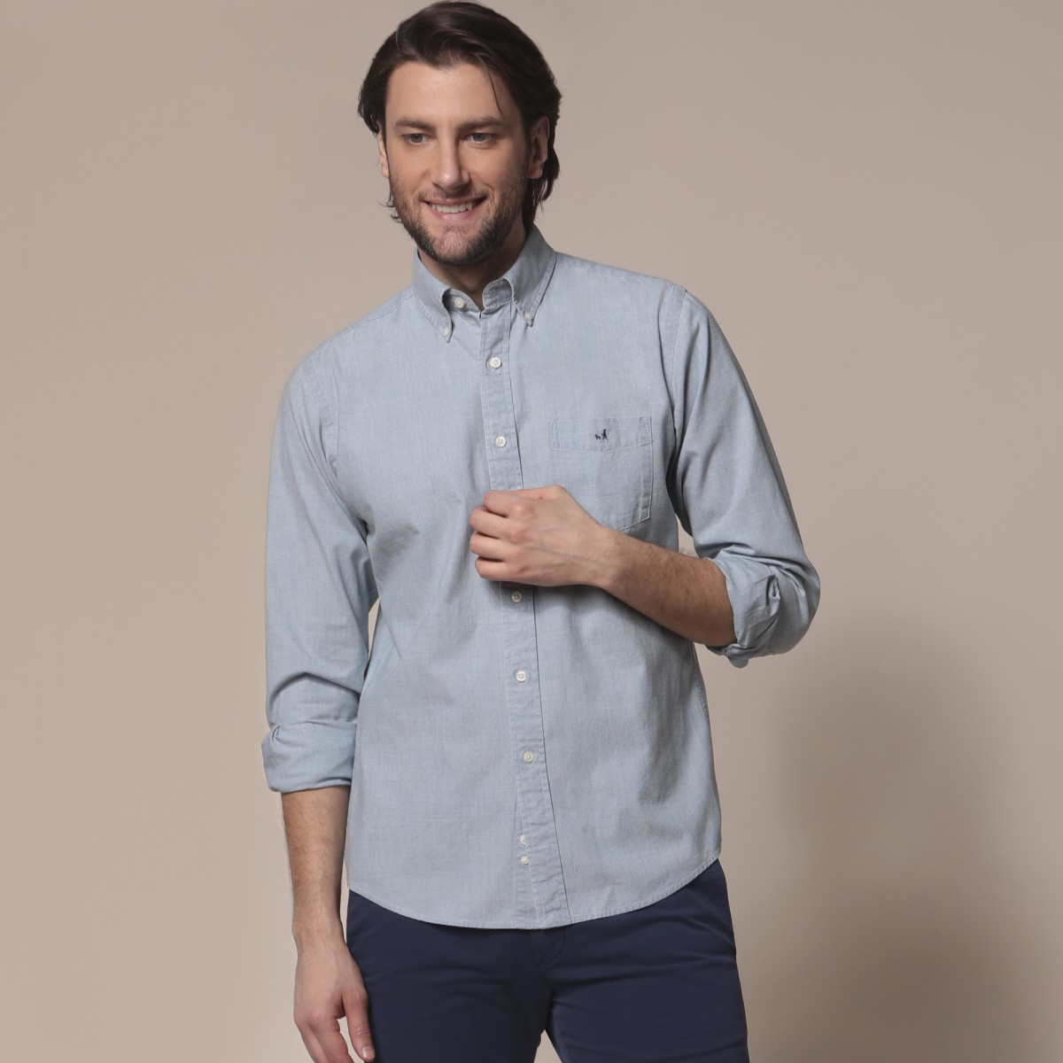 Camisa Sport Lisa Slim Casual Chambray