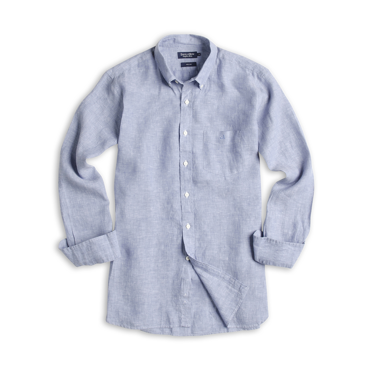 Camisa Lisa Button Down Manga Larga Lino