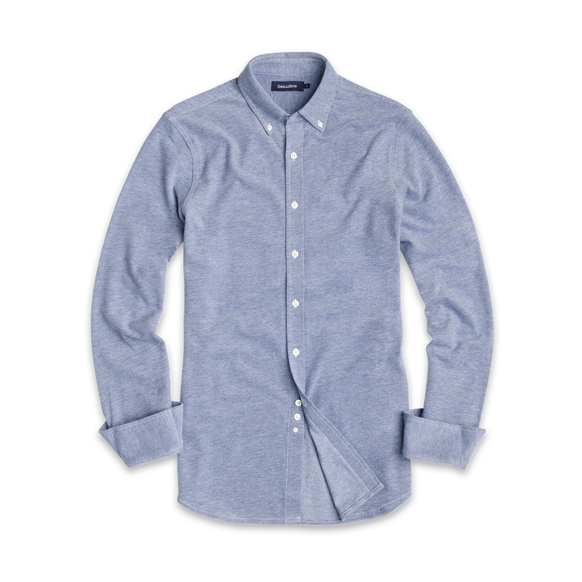 Camisa Lisa Button Down Manga Larga Oxford de Punto