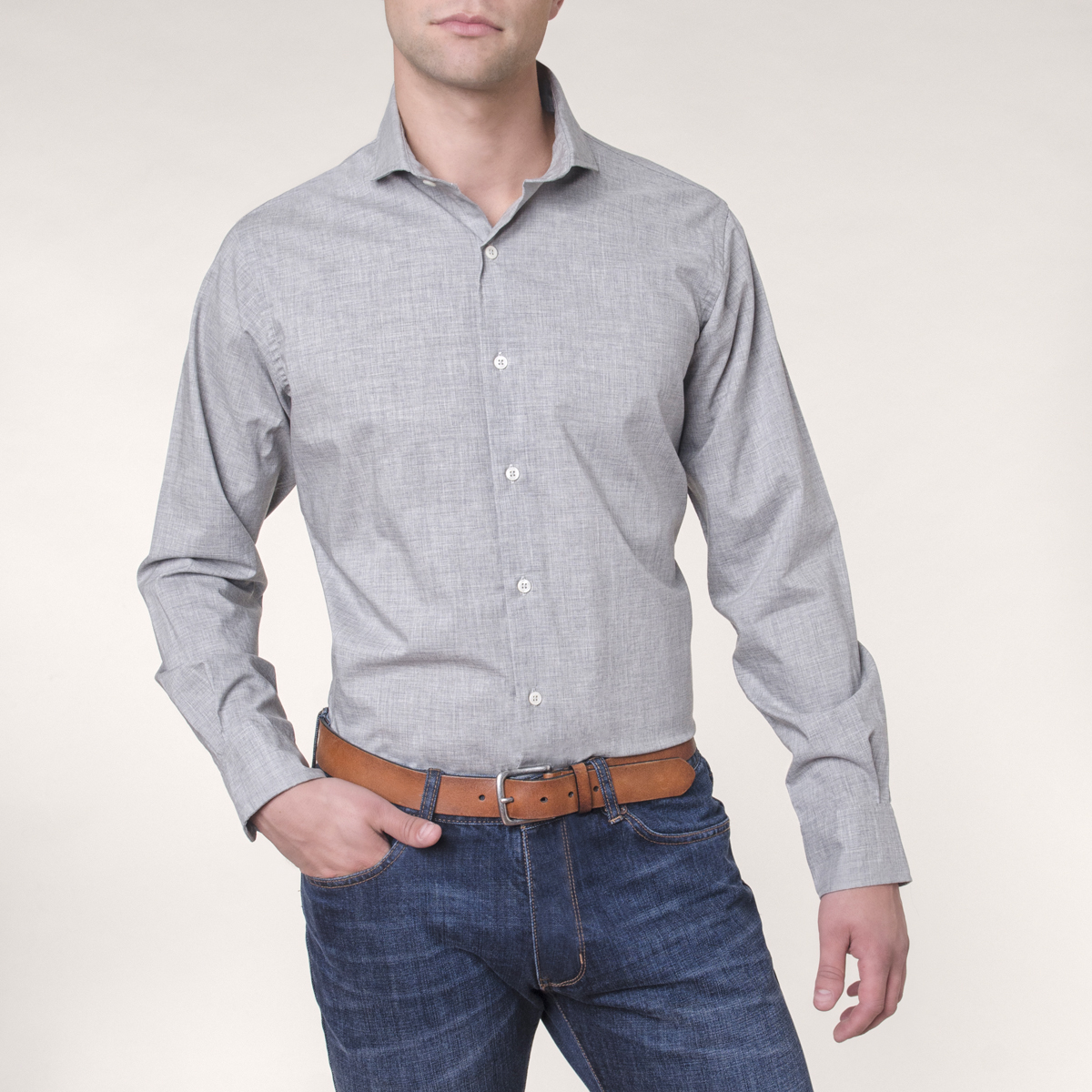 Camisa Sport Lisa Ascott Slim London Heather
