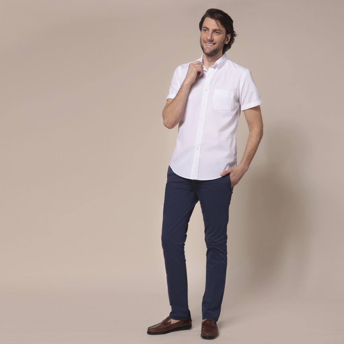 Camisa Lisa Sport Button Down Poplin Manga Corta