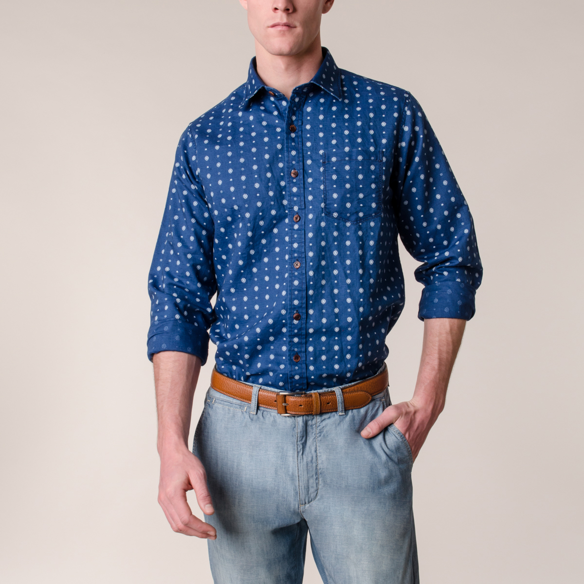Camisa Fantasia Houston Manga Larga Estampada Indigo