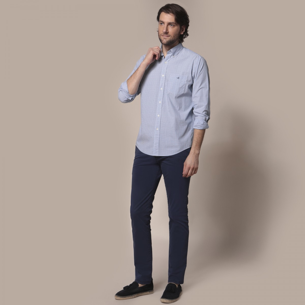 Camisa Button Down Weekend Manga Larga a Cuadros Sport