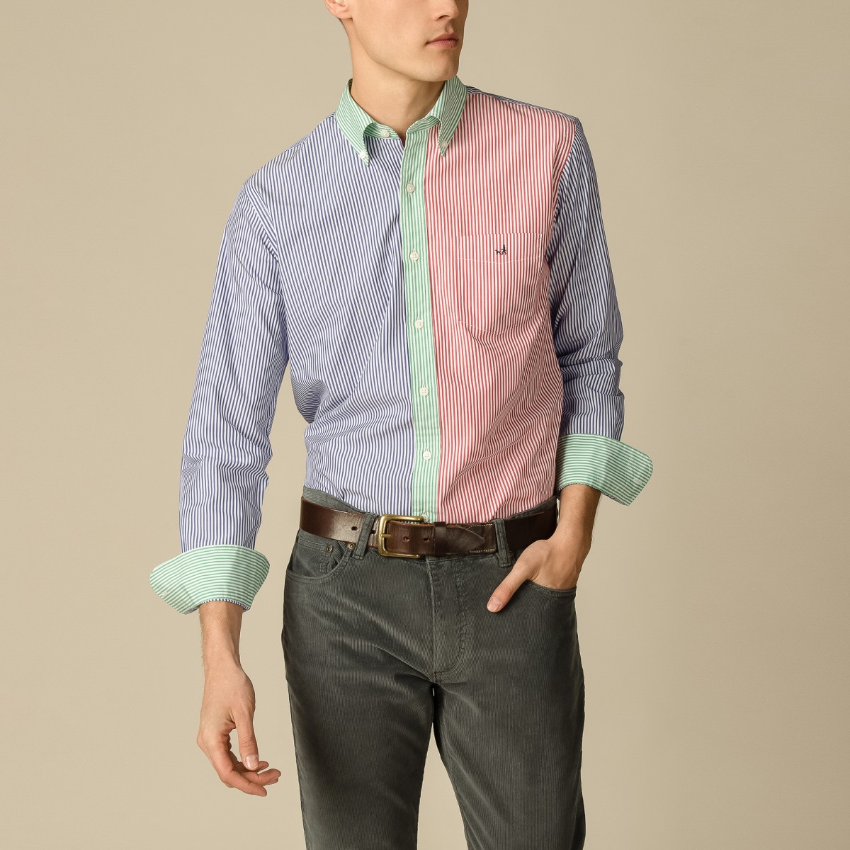 Camisa Button Down Weekend Manga Larga a Rayas Sport