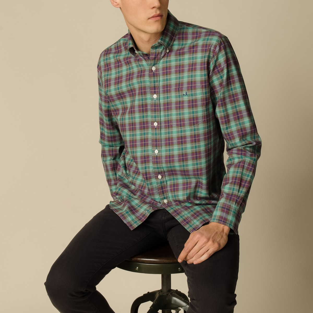 Camisa Button Down Weekend cotscheck Manga Larga a Cuadros Sport