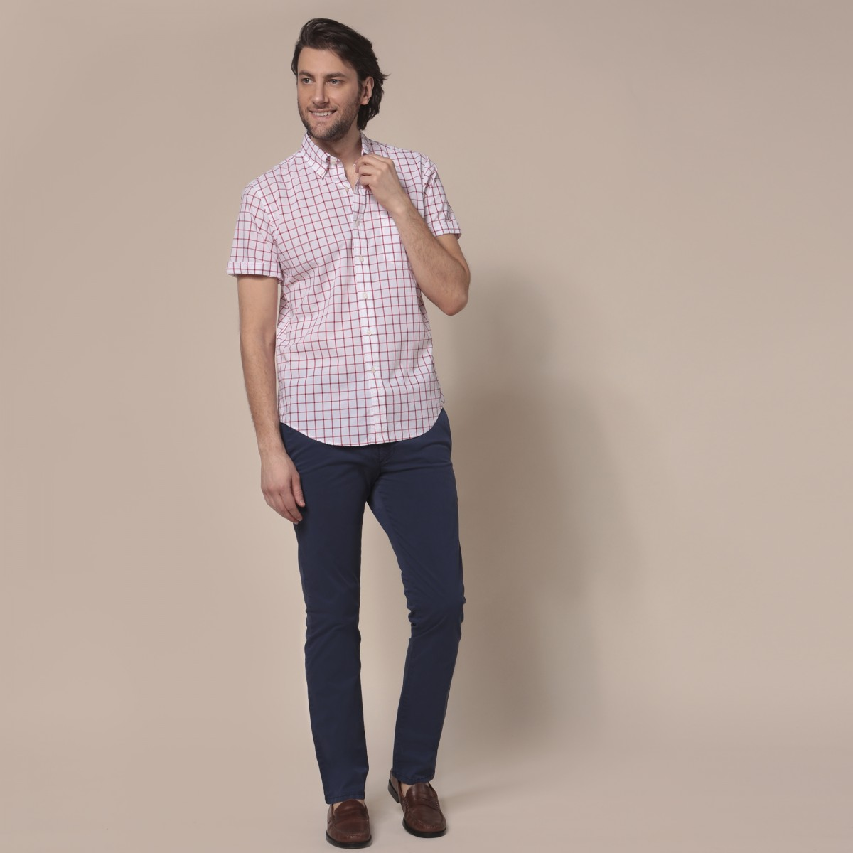 Camisa Sport Button Down Weekend Manga Corta a Cuadros