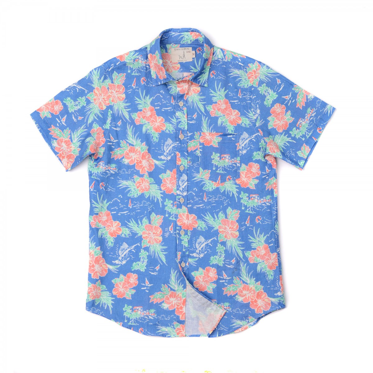 Camisa Sport Houston Weekend Lino Estampado Hawaii Land