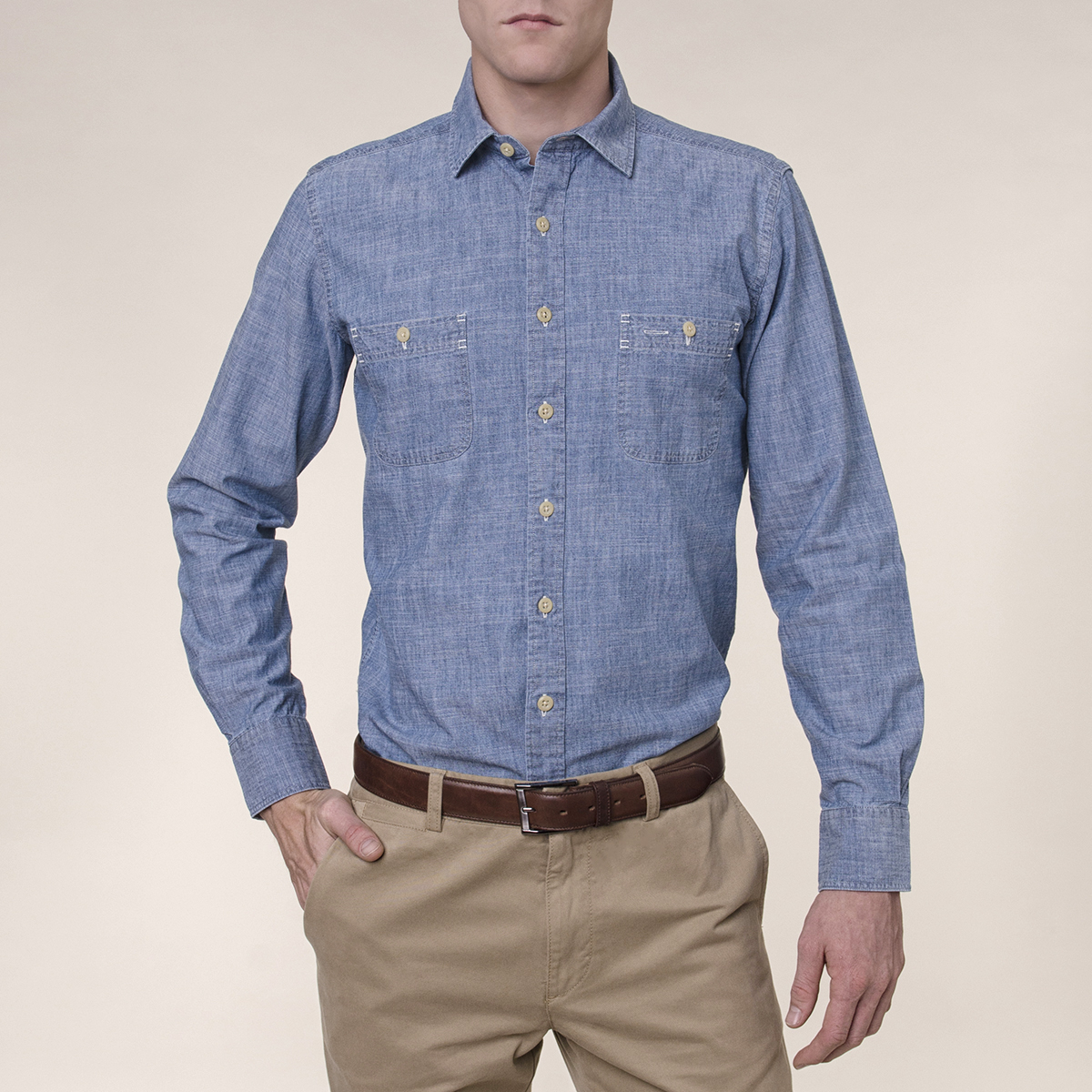 Camisa Sport Lisa Slim Worker Chambray