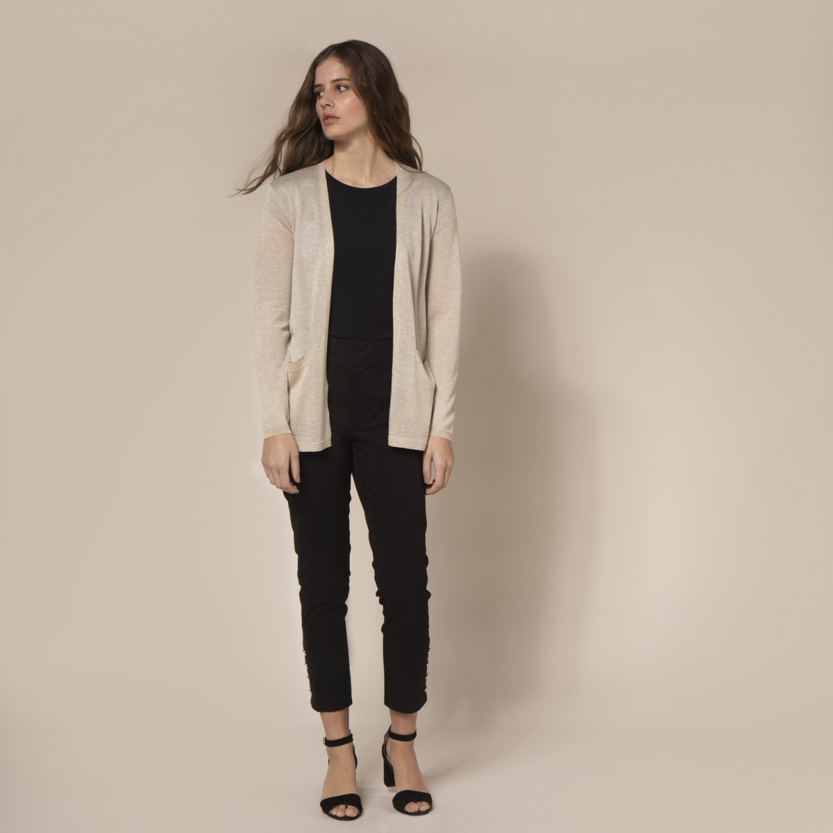 Cardigan Liso Lurex Tencel Nylon