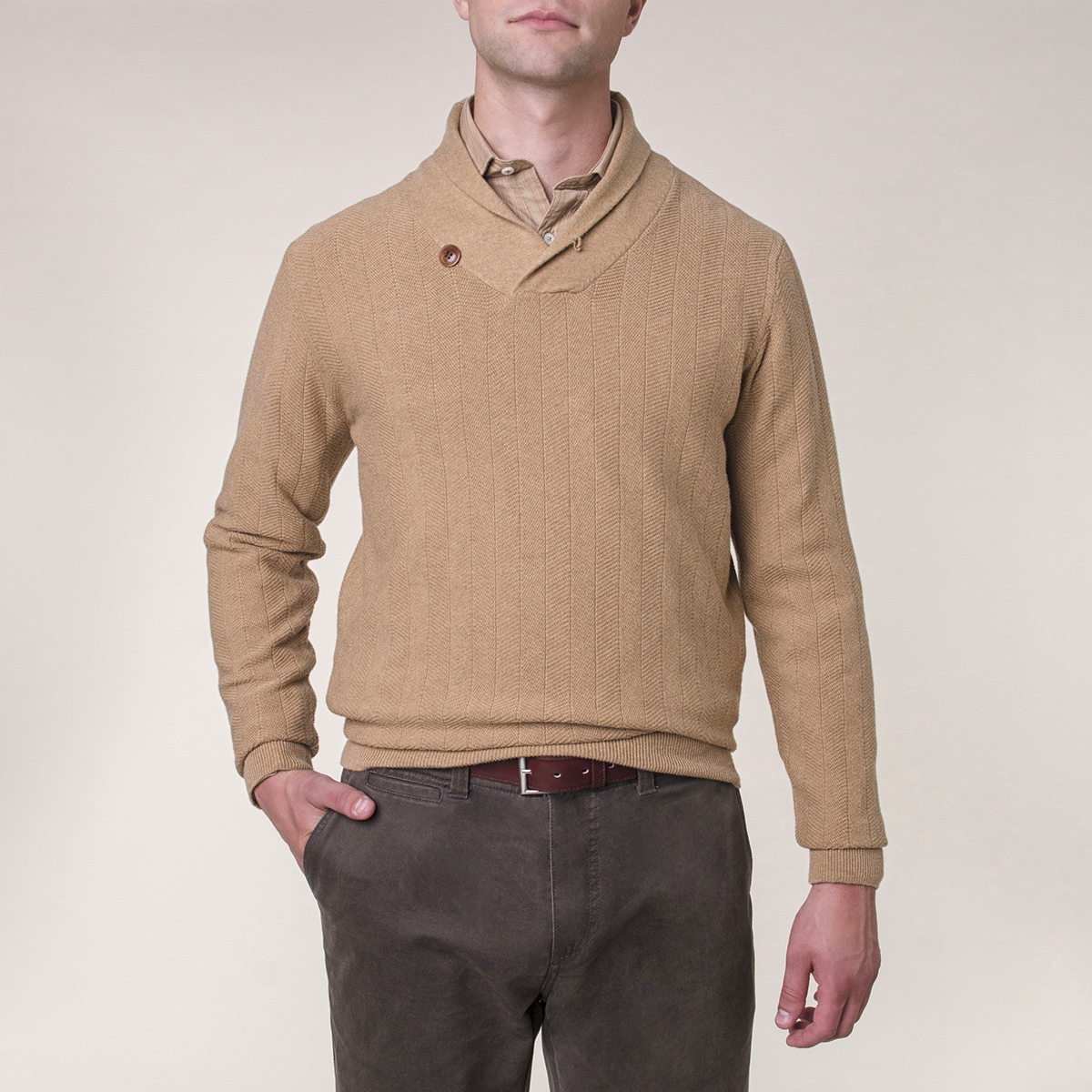 Sweater Shawl Collar Algodón - Cashmere Herringbone