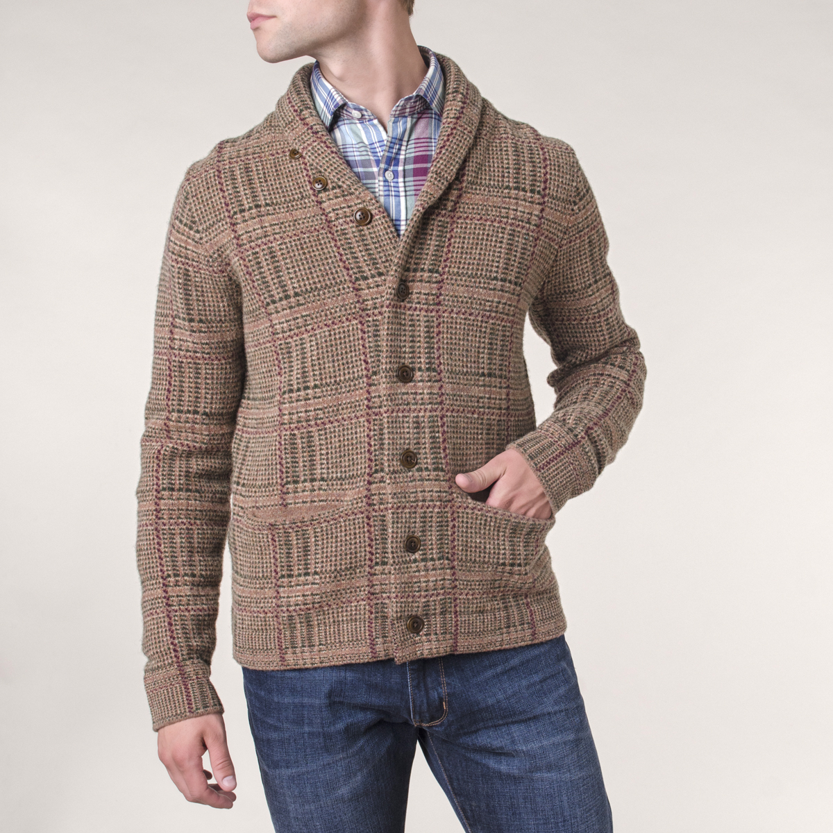 Chaleco Shawl Collar Lana Glen Check