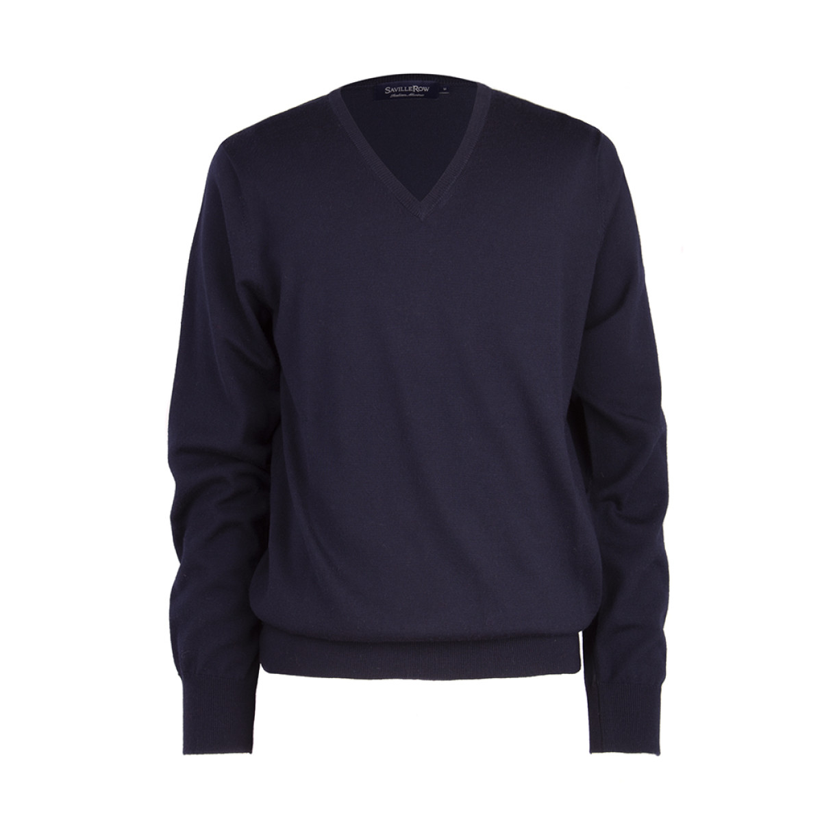 Sweater Liso Cuello V Manga Larga Merino Italiano