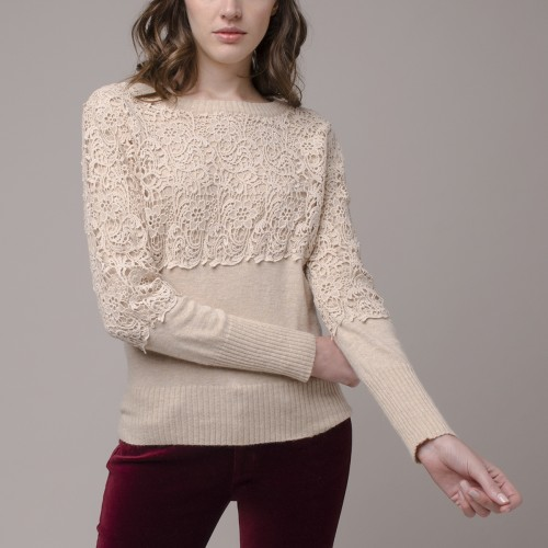 Sweater Manga Larga con Macrame
