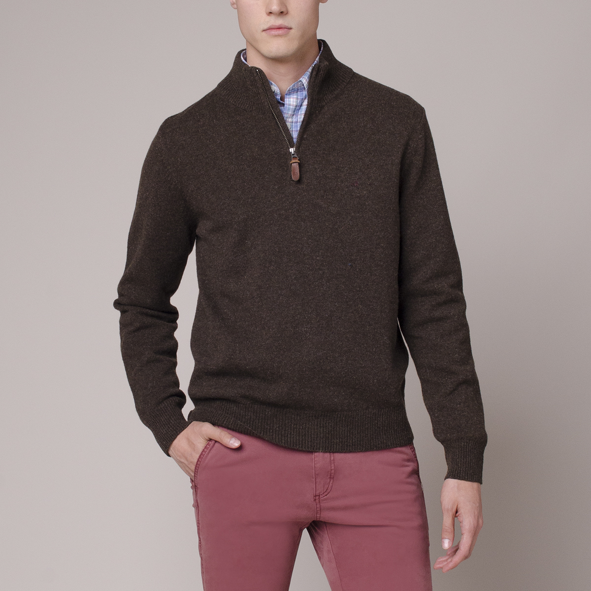 Sweater Lambswool Italiano Half Zipper