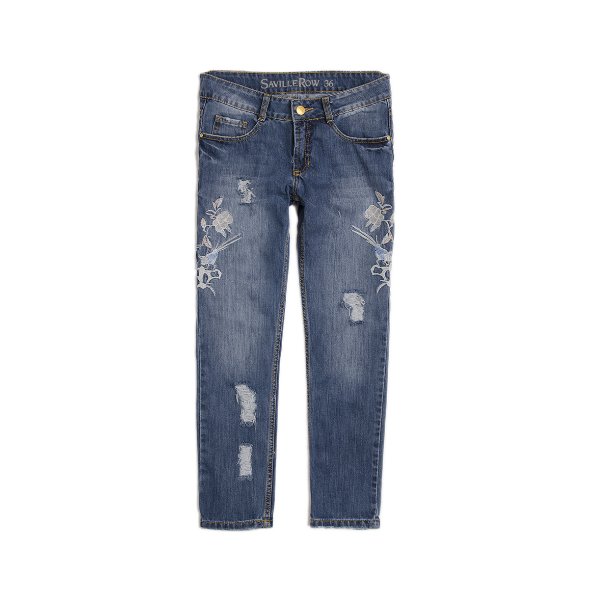 JEANS 100% ALG. BORDADO CHINO AZUL MEDIO